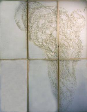 emilie pugh - Burnt incense stick drawing on Gampi paper  8ft x 6ft