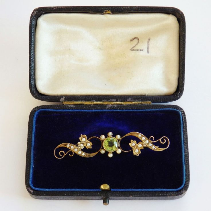 This wonderful antique Victorian Peridot & Seed Pearl set Brooch is in supeb condition with only wear, as shown, commensurate with age. It is complete & ready to wear with it's original hinge, 'C' clasp and a base metal pin, which works perfectly but may be a historic replacement. | eBay!
