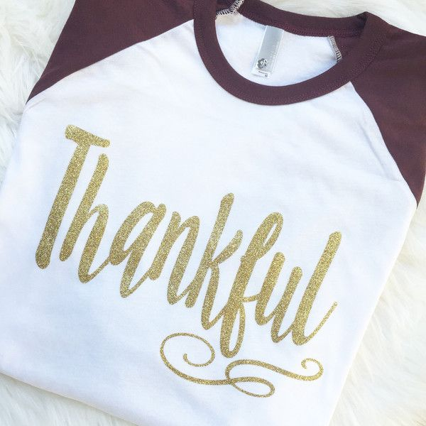 Womens Glittter Gold Thankful Thanksgiving Maroon Raglan Sleeve... ($34) ❤ liked on Polyvore featuring tops, t-shirts, silver, women's clothing, raglan t shirts, raglan tee, baseball t shirt, baseball tshirt and 3/4 sleeve t shirts