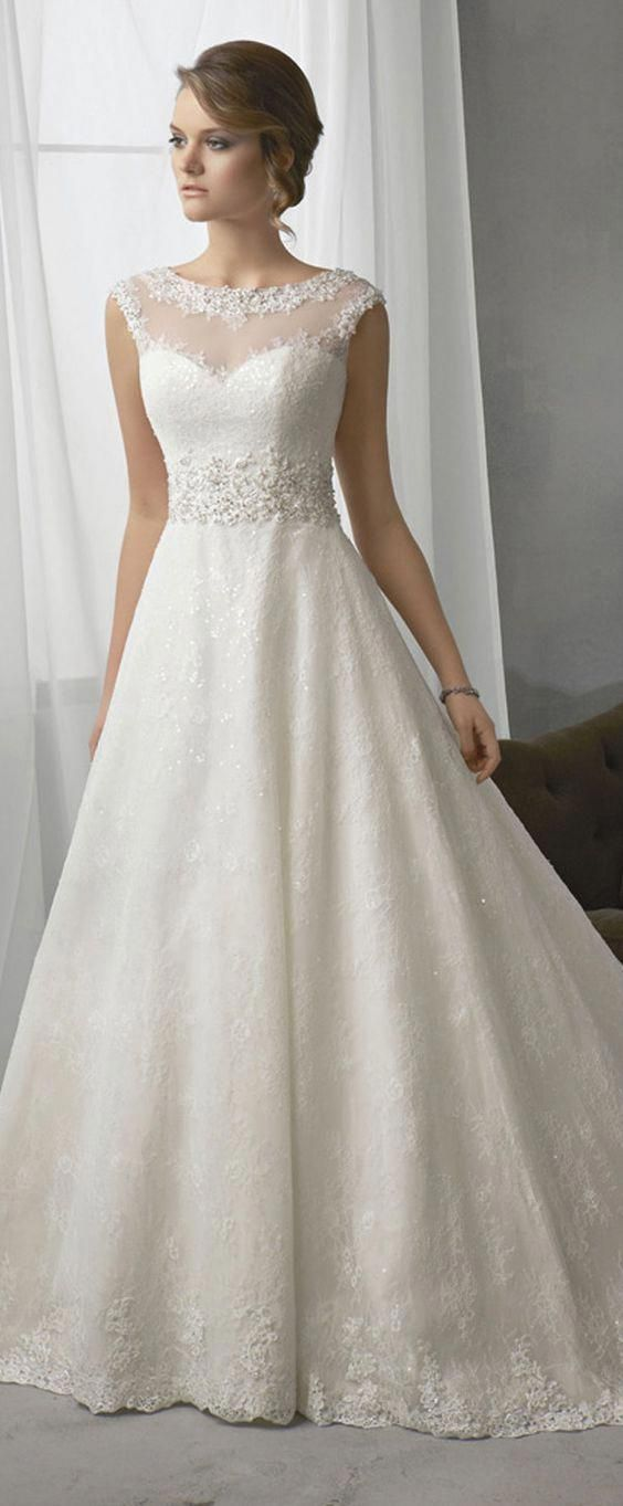 Elegant Lace Bateau Neckline Natural Waistline A-line Wedding Dress With Beaded Lace Appliques #uniqueweddingideas