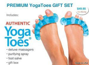 Premium YogaToes Gift Set by YogaToes. $49.95. Doctor Recommended. Soft and Flexible Medical Grade Gel. BPA & Latex Free. 30 Day Money Back Guarantee. Instant Therapeutic Relief For Your Feet!. The patented ergonomic design of YogaToes® works between, above and beneath toes to stretch them apart from each other, away from the ball of the foot and down from the top of the foot. To stimulate this effect, spread your fingers apart and out as far as you can. You can feel...