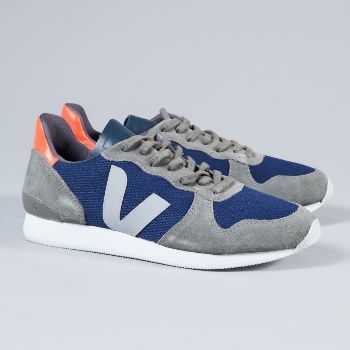 Veja  Men's Nautical Holiday Low Suede Trainers: Made from low chrome leather and organic cotton, these trainers are a must have for any style hunter with concern for the environment. Contrast textured panels, classic brand 'V' on the sides (made from wild rubber), durable and lightweight rubber sole, modern and eco-friendly.