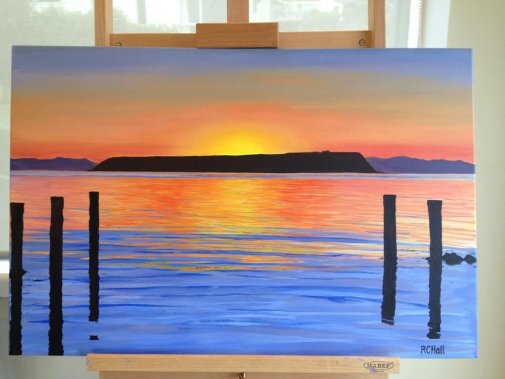 Mana Island Sunset from Plimmerton Boating Club - 2013 - By New Zealand Artist Robyn Hall