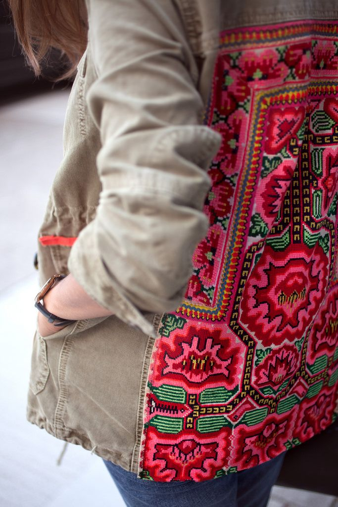 Add some embroidered fabric to your jacket www.apairandasparediy.com