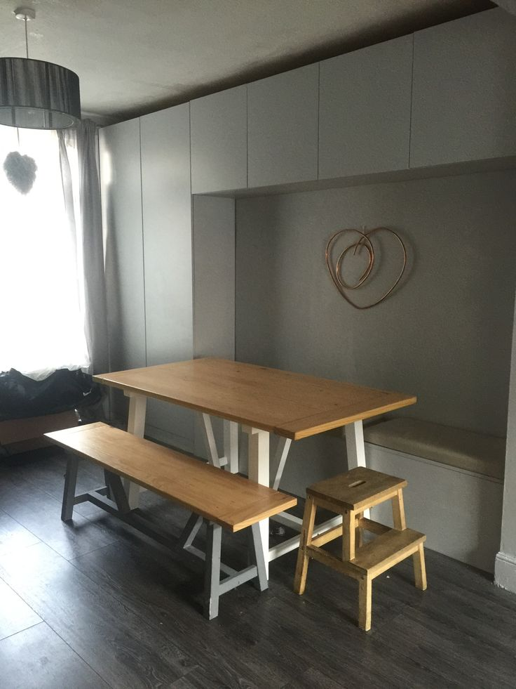 Built in dining bench storage cupboards  - minimalist grey Copper heart DIY DULUX EGGSHELL CHIC SHADOW