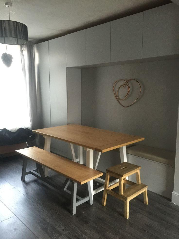 Built in dining bench storage cupboards  - minimalist grey Copper heart DIY DULUX EGGSHELL CHIC SHADOW
