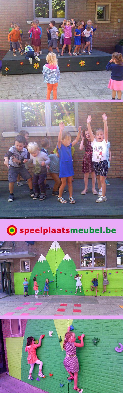 Groot podium op maat voor kleuterschool De Lettertuin in Zonhoven. De groene…