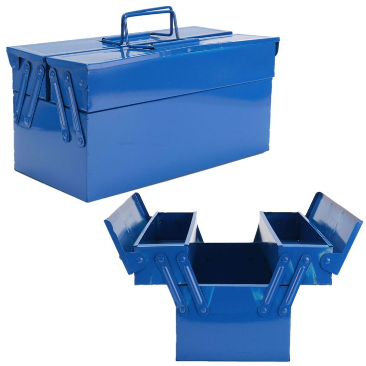 Heavy Duty Metal 2 Tier 3 Tray Cantilever Tool Box Storage Container Organizer Blue