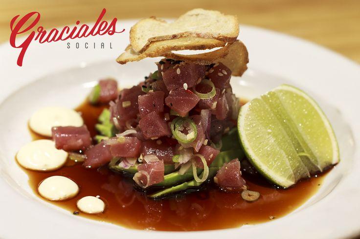 Tuna tartare on fresh avocado with soya sauce, fresh lime, mayo, spring onion and chili.