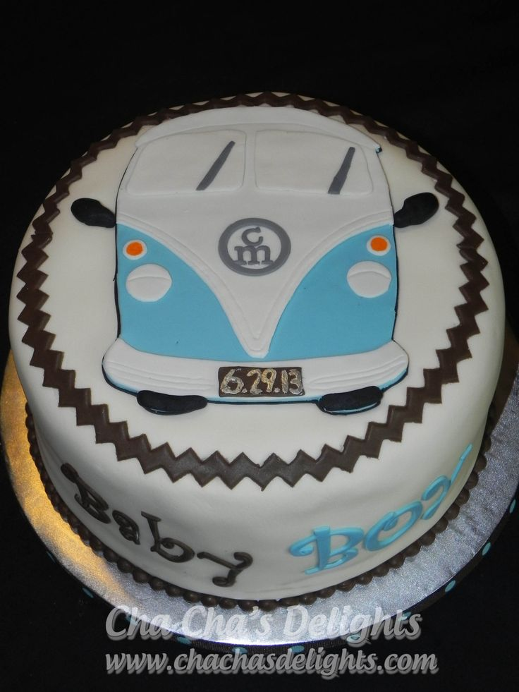 Vw Van Baby Shower Cake Cream Cheese Pound Cake Filled