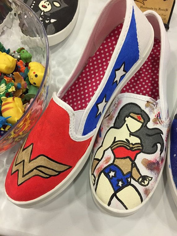 Oh baby!! Toms size 9 Wonder Woman Hand-Painted Shoes by HandmadebyFoxieB on Etsy