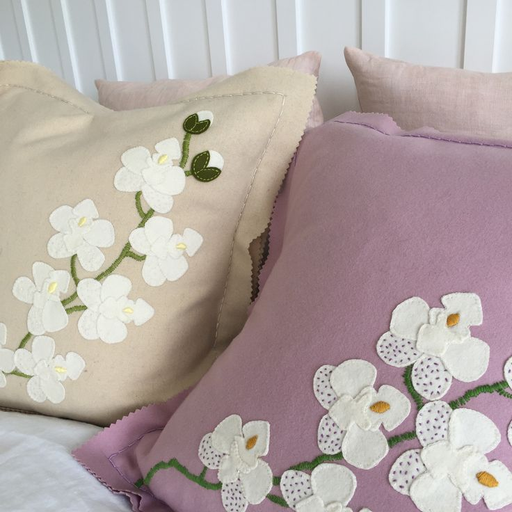 Blooming in the bedroom. White and pink moth orchid pure wool diy applique and embroidery cushion kits form birdiebrown.co.nz #embroidery #applique