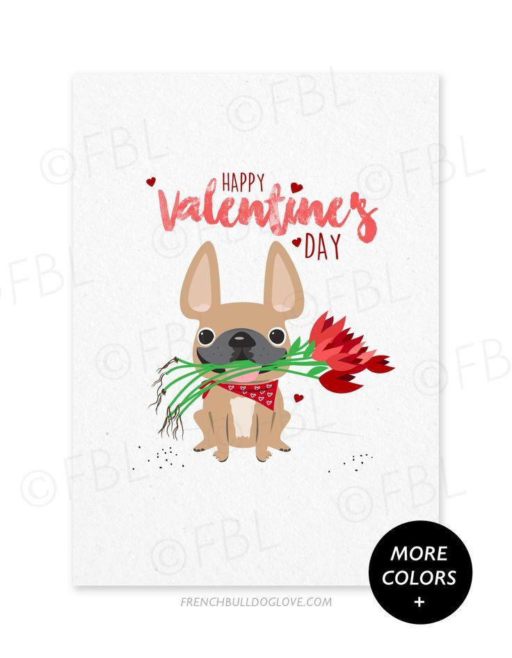 Roses French Bulldog Valentine's Day Card