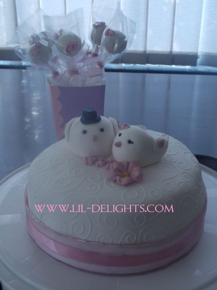 Pink Love Birds wedding cake