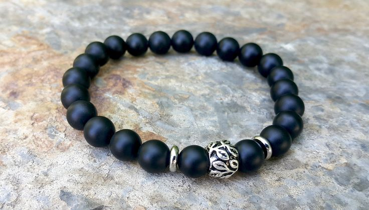 Mens Birthday Gift, Man Black Beaded Bracelet, Silver Leaf Charm, Balancing, Positive Energy, Personal Strength, Clarity, Boho Gift for Him