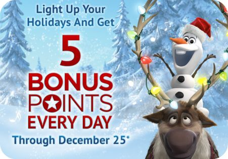 Each day from now through December 25, you can add 5 points to your account as part of the Disney Movie Rewards 25 Days of Christmas promotion.