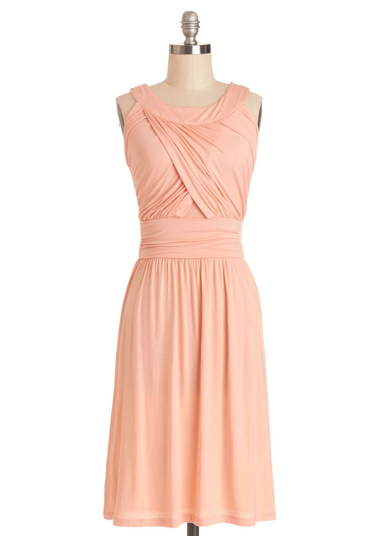 So Happy to Gather Dress in Peach. Nothing makes you gladder than your pals, especially when you're hanging with them in this pretty peach dress! #coral #modcloth