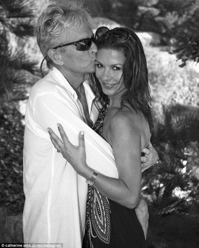 'Here's to the next 15!': Catherine Zeta-Jones, 46, couldn't resist sharing a very touching and very public message with husband Michael Douglas, 71 on the day of their 15th wedding anniversary, on Wednesday