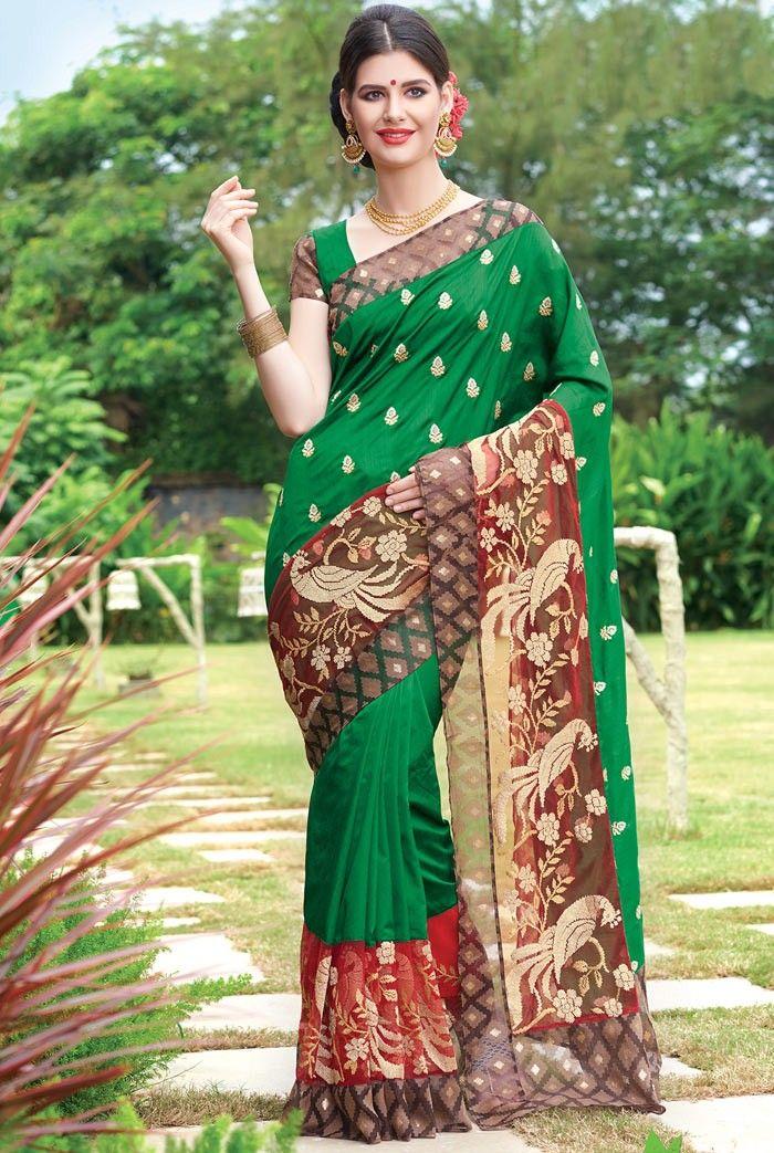 Green #DupionSilk #Saree with Blouse