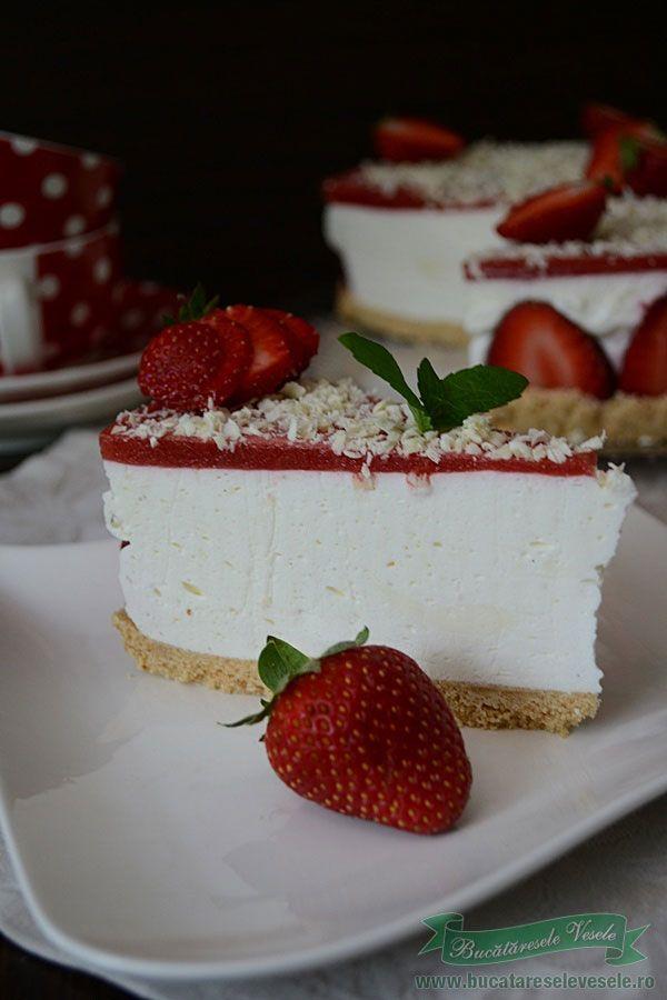 Cheesecake fara coacere cu capsuni .prajitura fara coacere Reteta Cheesecake…