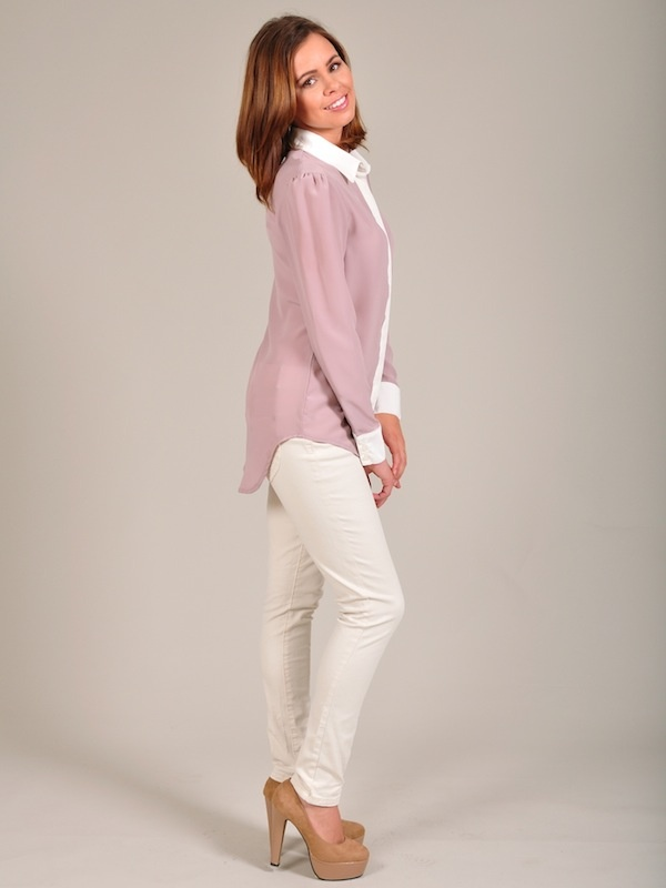 Diligo cream and mauve colour block shirt | www.diligo.co.za