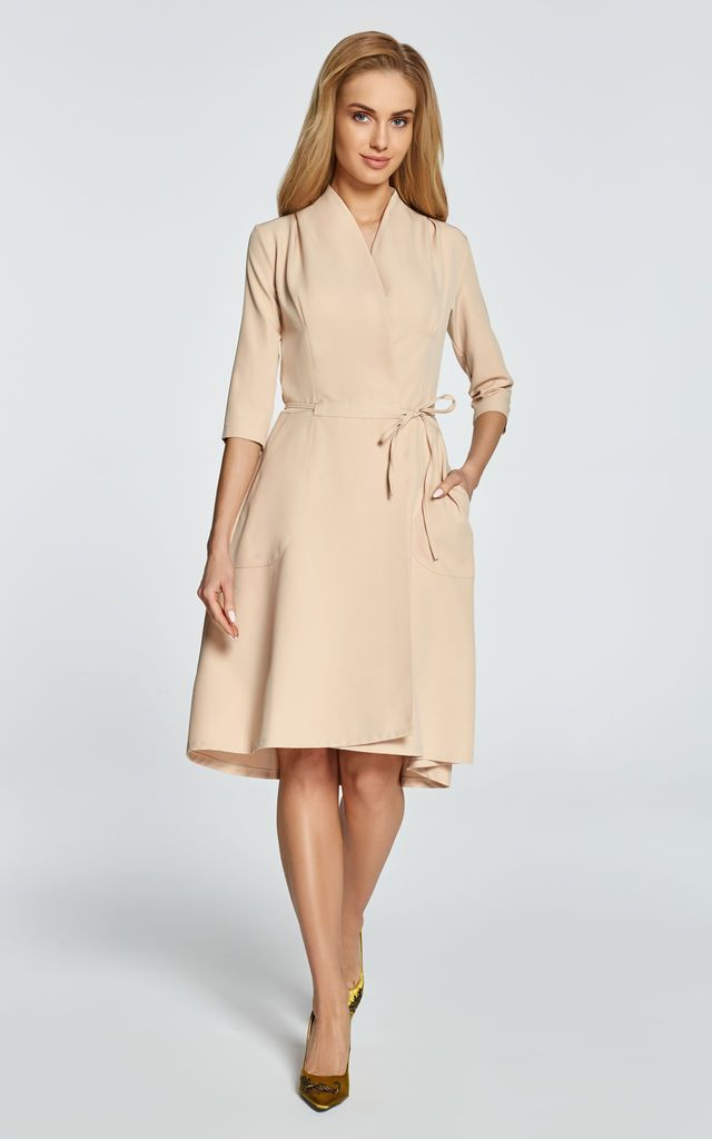 263f82ada4569 Beige A Line Dress With Draped Neck And Flared Asymmetric... | MOE |  SilkFred