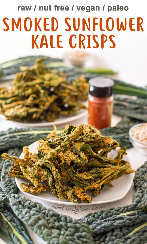 Smoked Sunflower Seed Kale Crisps Recipe - Raw, Vegan, Gluten-free, Nut-free and Paleo via @nestandglow