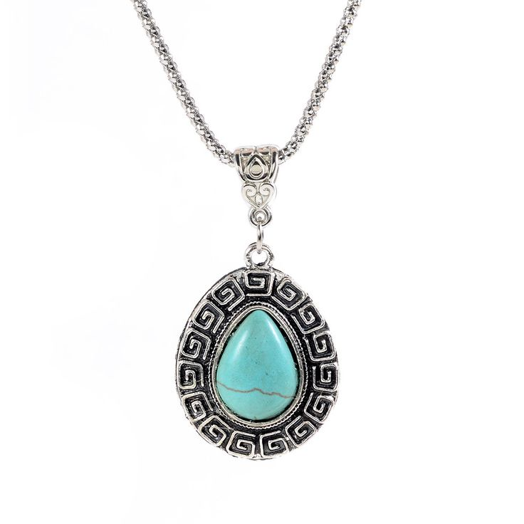 $8 Classic Bohemian Turquoise Waterdrop Necklace