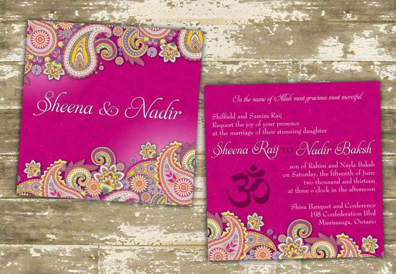 Single Sample Hand Painted Vibrant Paisley Shimmer Indian Wedding Invitations on Etsy, $4.27 CAD