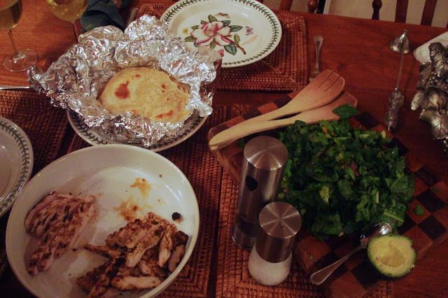 Essence: mexican rubbed chicken + chopped salad + home-made tortillas = tacos!