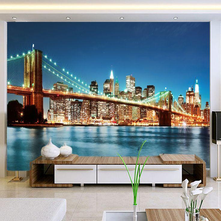 ==> [Free Shipping] Buy Best yazi HD Print Customized Size Bridge Night PVC Self-adhesive Wallpaper Wall Closet Sliding Door Sticker Window Glass Film Online with LOWEST Price | 32666131590
