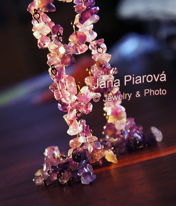 Jewelry & photo by JANA PIAROVA * Unique original design, hand made, material: Mineral stone, AMETHYST :-) https://www.facebook.com/pages/Jana-Piarov%C3%A1/138211165486