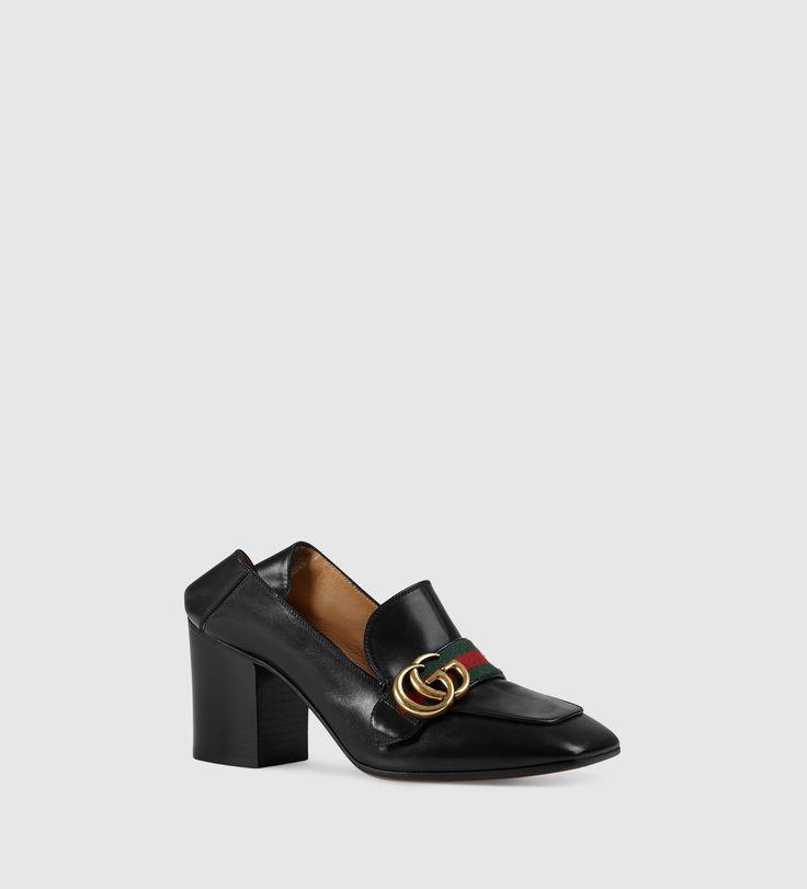 leather mid-heel loafe...