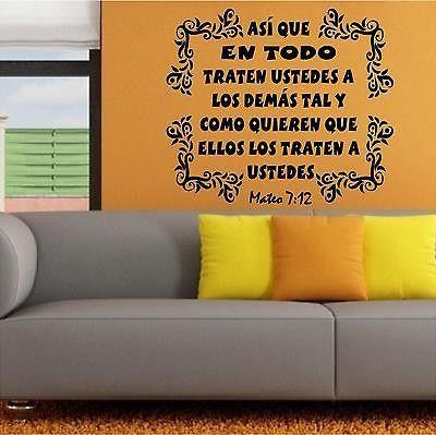 Spanish Wall Decals. Vinilos Decorativos. Versículo de la biblia: Mateo 7:12