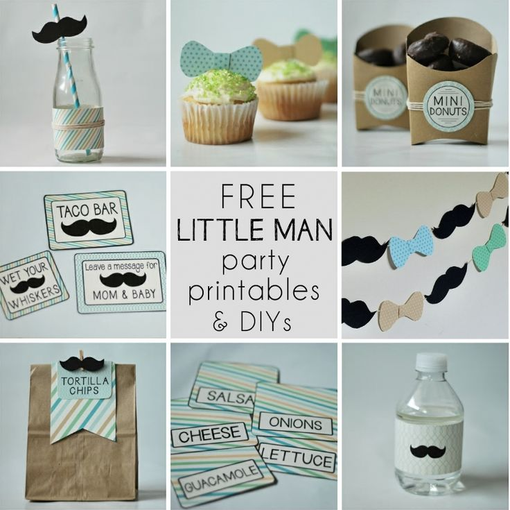 This FREE Little Man Party Printables set includes: Bottle Wrappers, Mini Donut & Tortilla Chip Food Labels, Party Signage and Printable Bunting