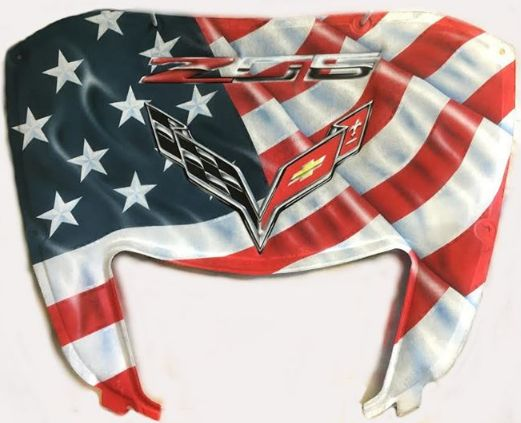 C7 Z06 Corvette American flag style. This Corvette hood liner was airbrushed here at RPI Designs. This customers Corvette is going to stand out. Get yours today!!
