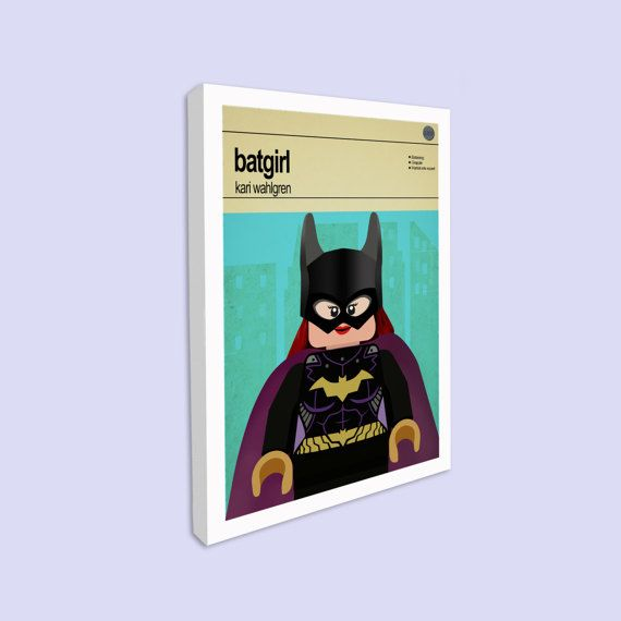 Lego Batgirl - Stretched Canvas Print   This is a stylish stretched canvas print of the Lego Marvel Super Hero Batgirl, fit to grace any man cave or children's bedroom. Hand drawn with a graphics tablet and pen this print is styled with typography and features the actor who voiced Batgirl in the Lego Marvel Super Heroes game and the Lego Super Hero abilities.