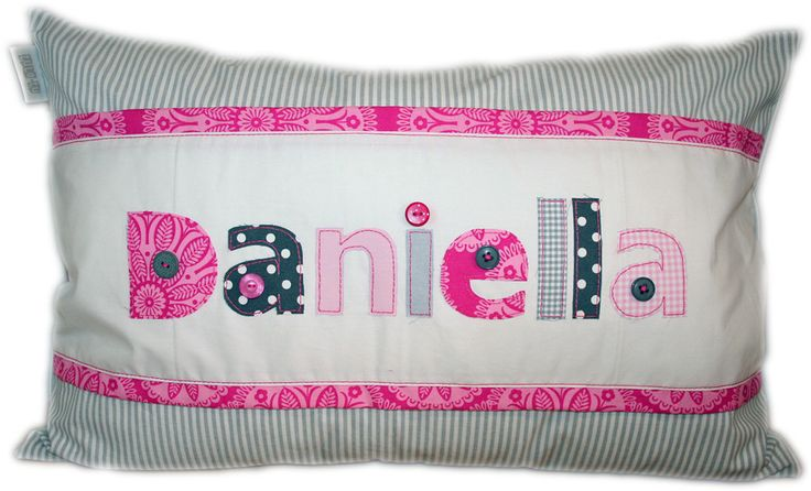 "Personalized ""Daniella"" Scatter - in a trendy pink & grey colour way - ideal to brighten any little girl's room! Great gift idea. Order from Tula-tu Baby Linen - also find us on facebook"