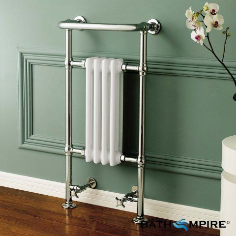 952x405 mm Traditional White Towel Rail Radiator | Floor Standing - BathEmpire
