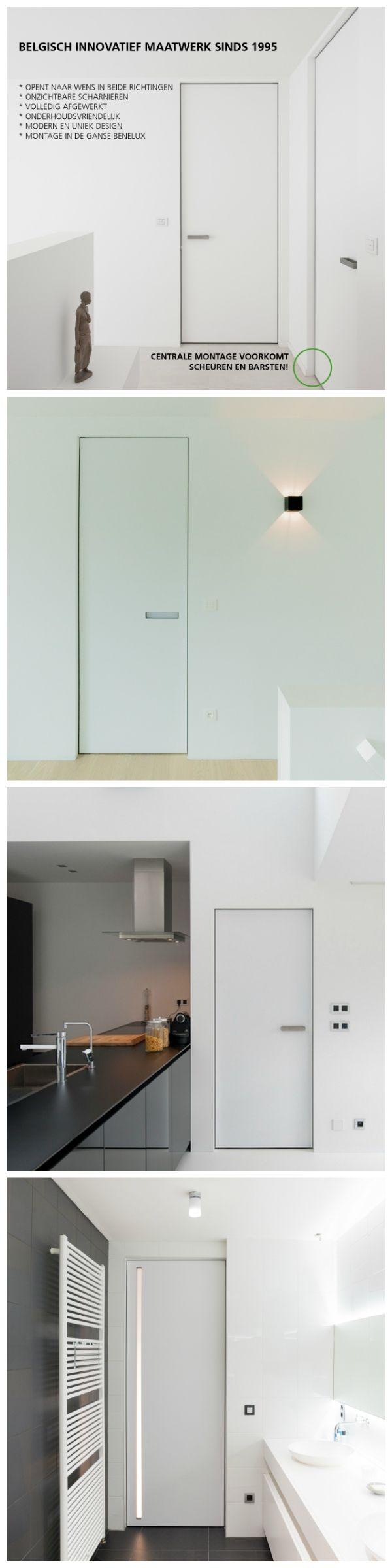 Moderne deuren zonder omlijsting. Het Belgische merk Anyway Doors legt zich al sinds 1995 toe op de ontwikkeling van binnendeuren met onzichtbare omlijstingen. Het systeem wordt centraal in de wand ingebouwd zodat er geen scheuren of barsten kunnen optreden. Kijk voor meer informatie op de website.