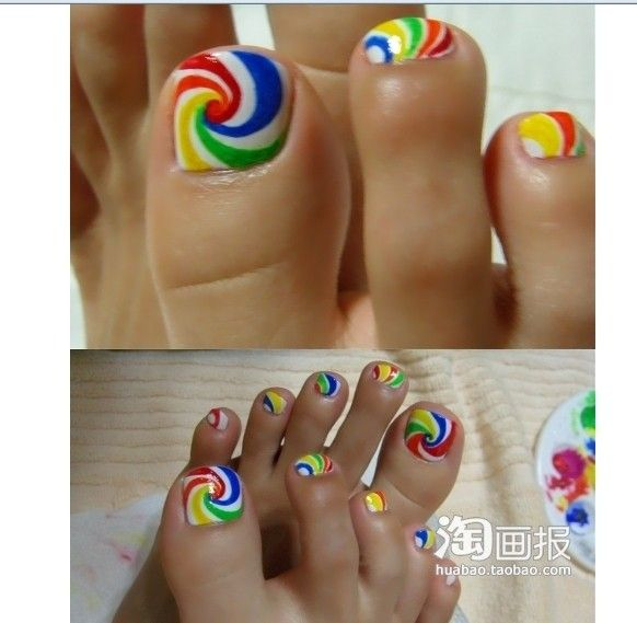lollipop toes :)  http://fashionguilt.blogspot.com/2011/05/rainbow-nails-diy.html