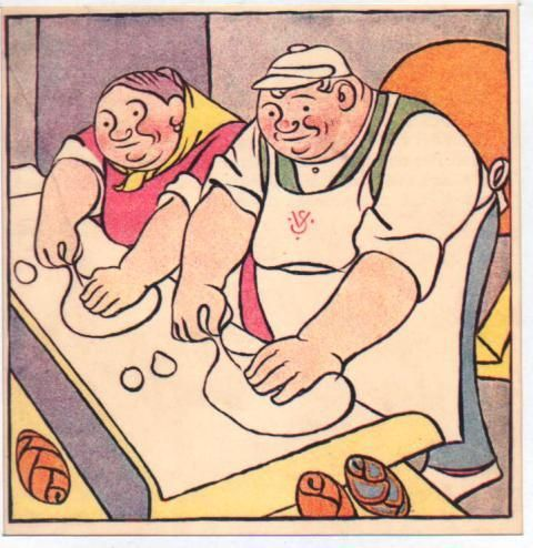 Josef Lada - zinkografie, 1911,  č. 29812./1 Pekař a pekařka
