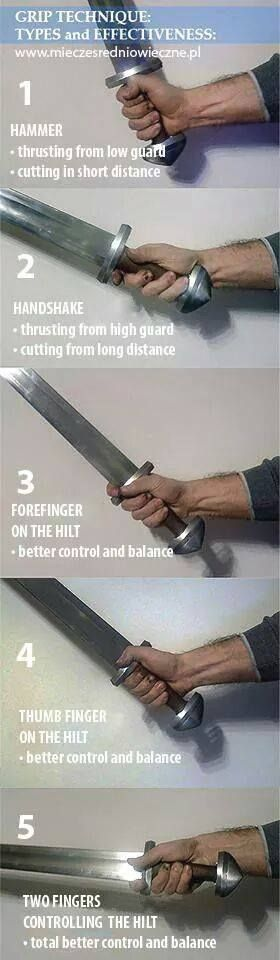 Sword grip Advice | But fighting with technique 3, 4, and 5 you'd lose a finger.