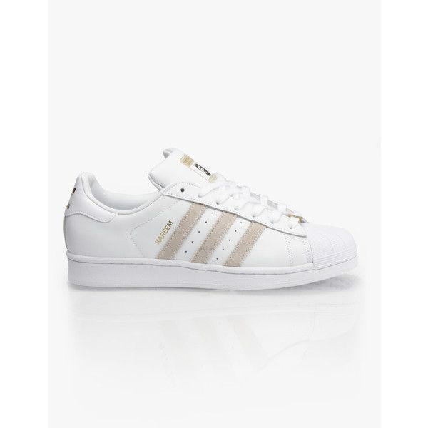 Adidas RYR Kareem Campbell Superstar Skate Shoes White/White/White ($62) ❤ liked on Polyvore featuring shoes, sneakers, white sneakers, white skate shoes, adidas footwear, adidas sneakers and white trainers