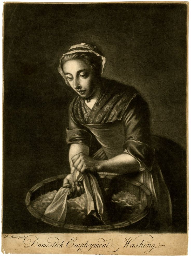 Domestick Employment, Washing. A young woman wearing a frilled cap, gown with a patterned fichu and apron, washing linen in a bucket of water; after Mercier. Mezzotint