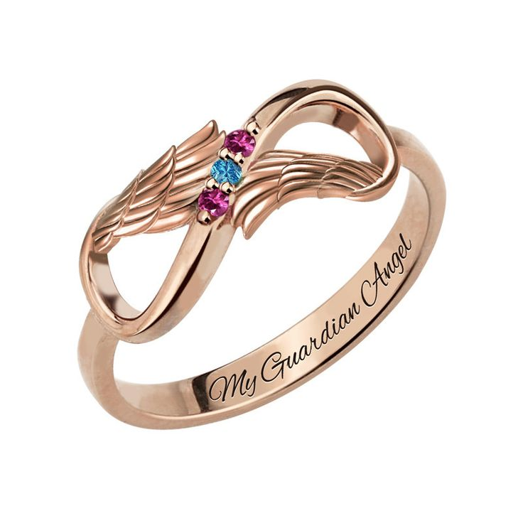 Three Stone Infinity Angel Wings Rose Gold Ring