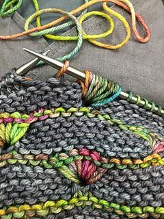 IMPORTANT NOTES   I was running out of the main color so I bound off after the last 26-row, 3-rows-of-bud-stitches repeat plus 4 rows of the main color. There's no way I could have finished t...