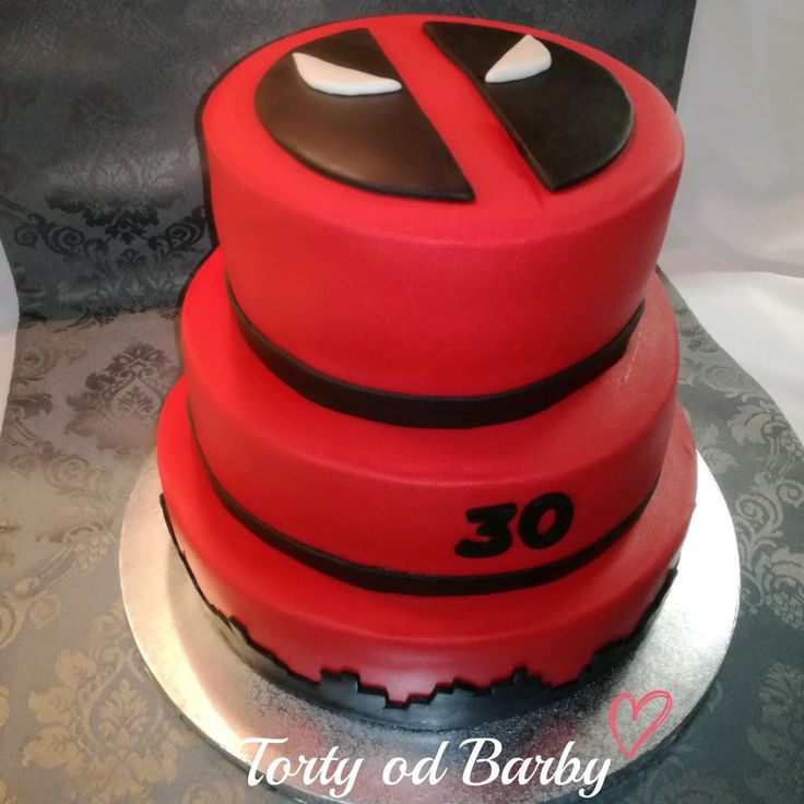 Deadpool cake, 3 tier, Red cake