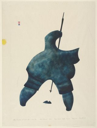 """Man Hunting at Seal Hole in the Ice"" Niviaxie (1959) Cape Dorset - skin stencil."