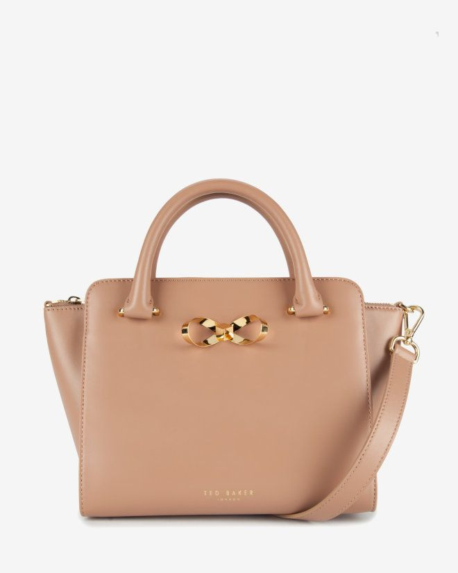 Loop bow leather tote bag - Mink   Bags   Ted Baker